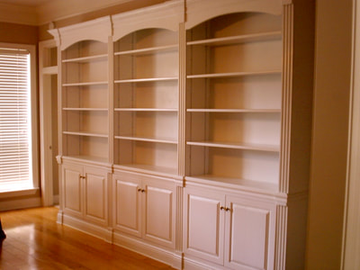 Painted Poplar bookcases Old Lake woodshop..Custom made with Moldings and Millwork
