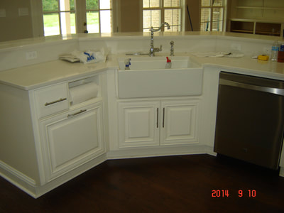 Solid wood kitchen .Farm sink, granite counters.