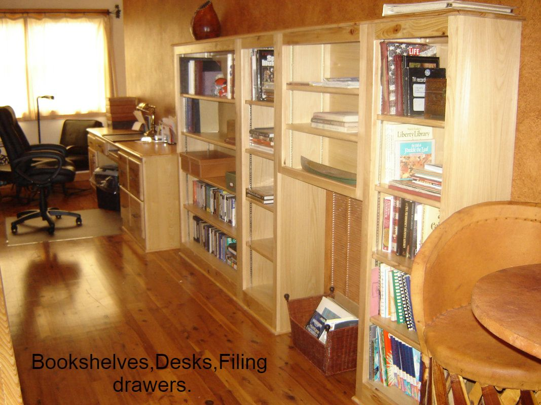 Solid Cypress Bookcases and Desk
