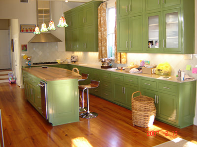 Painted maple,Solid Wood Kitchen.Inset Doors,Cypress Island Top